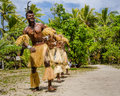 Native dancers entertain tourists visiting Mystery Island. Royalty Free Stock Photo