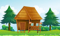A native house at the hill illustration of Royalty Free Stock Photography
