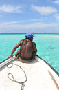 Native on a sailing daytrip perfect turquoise water in the cari boat caribbean san blas islands panama central america Stock Images