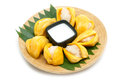 Native Thai style dessert, sticky rice in jack fruit. Royalty Free Stock Photo