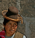 Native woman from peru middle aged quechua with typical traditional hat arequipa Royalty Free Stock Images