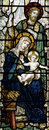 The Nativity (birth of Jesus in stained glass) Royalty Free Stock Photo