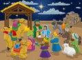 Nativity Christmas Scene Cartoon Royalty Free Stock Photo