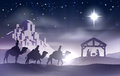 Nativity christmas scene christian with baby jesus in the manger in silhouette three wise men or kings and star of bethlehem with Royalty Free Stock Image