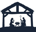 Nativity Christmas Scene Silhouettes Royalty Free Stock Photo