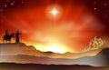 Nativity Christmas story illustration Royalty Free Stock Photo
