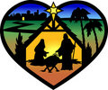 Nativity Heart Silhouette/eps Royalty Free Stock Photo