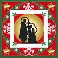 Nativity illustration of card with frames and decorations Royalty Free Stock Photography