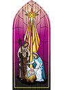 Nativity illustration of the holy family of the or birth of jesus created as stained glass Royalty Free Stock Photos
