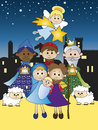 Nativity illustration of with three kings Stock Images
