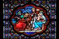 Nativity Scene, Adoration of the Magi, stained glass window in the Basilica of Saint Clotilde in Paris Royalty Free Stock Photo
