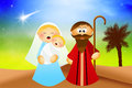 Nativity scene cartoon illustration of christmas Royalty Free Stock Photo