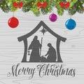 Nativity scene. Christmas. Bethlehem. Mary, Joseph and small Jesus Royalty Free Stock Photo