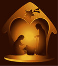 Nativity scene christmas decoration with holy family Stock Image