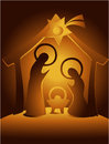 Nativity scene christmas decoration with holy family Stock Photography
