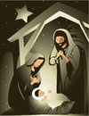 Nativity scene christmas with holy family Stock Images