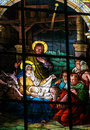 Nativity Scene at Christmas - Stained Glass window Royalty Free Stock Photo