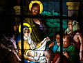 Nativity Scene at Christmas - Stained Glass Royalty Free Stock Photo