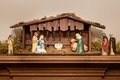 Nativity scene or creche with a stable and manger Stock Image