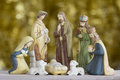 Nativity Scene on Golden Background Royalty Free Stock Photo