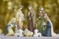 Nativity Scene on Golden Background Royalty Free Stock Photo