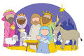 Nativity scene hand drawn picture of full including mary joseph and baby jesus illustrated in a loose style vector eps available Stock Images