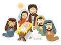 Nativity scene illustration of mary baby jesus joseph and the three wise men Royalty Free Stock Photo