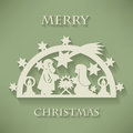 Nativity scene. Paper cut Christmas background Royalty Free Stock Photo