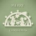 Nativity scene. Paper cut Christmas background Royalty Free Stock Photo