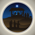 Nativity Scene Silhouettes in a Beauty Landscape, Vector Illustration Royalty Free Stock Photo