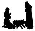 Nativity Scene Silhouettes Royalty Free Stock Photo