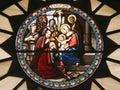 Nativity scene, stained glass, Church of St. Catherine, Bethlehem Royalty Free Stock Photo