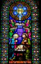 Nativity Scene - Stained Glass Royalty Free Stock Photo