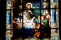 Nativity Scene. Stained glass window Royalty Free Stock Photo