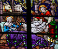 Nativity Scene Stained Glass Royalty Free Stock Photo