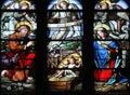 Nativity Scene, stained glass window in Saint Eustache church, Paris Royalty Free Stock Photo