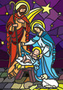 Nativity in stained glass.