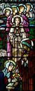 The nativity in stained glass birth of jesus mary holding jesus a photo Stock Photography