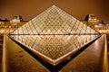 Nattsikt av louvre art museum paris frankrike Royaltyfria Foton