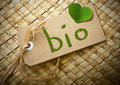 Natual cardboard label with the word bio Royalty Free Stock Photo