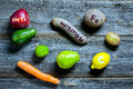 Natural antioxidants fruits and vegetables with cut healthy words concept Stock Photography