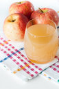 Natural apple juice and fruits
