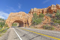Natural arch road tunnel on the scenic byway utah usa Royalty Free Stock Image