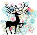 Natural background with deer, flowers and bird Royalty Free Stock Photography