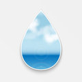 Natural background seascape figure in the form of drops with seascape Royalty Free Stock Photos
