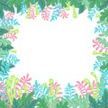 Natural banner with stylized green leaves. Vector