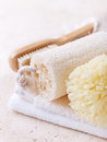 Natural bath accessories close up of a spong loofah and brush Royalty Free Stock Photo