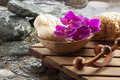 Natural beauty with water hydration accessories for spa treatment ambiance Stock Images