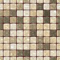 Natural beige marble stony mosaic seamless texture background with dark brown grout - regular squares Royalty Free Stock Photo