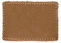 Natural Blank Beige Brown Leather Label Jeans Tag, Isolated Royalty Free Stock Photo